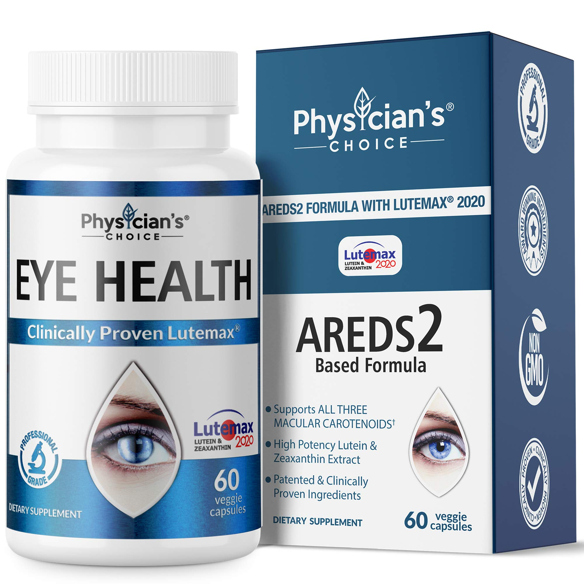 Areds 2 Eye Vitamins (Clinically Proven) Lutein and Zeaxanthin Supplement Lutemax 2020, Supports Eye Strain, Dry Eye, Eye and Vision Health, 2 Award Winning Eye Ingredients Plus Bilberry Extract by Physician's CHOICE