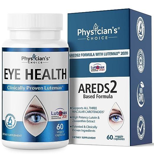 Areds 2眼維生素[臨床證明]葉黃素和玉米黃質補充劑Lutemax 2020;  支持眼部緊緻,乾眼,眼部和視力健康,2個獲獎眼部成分和越橘提取物