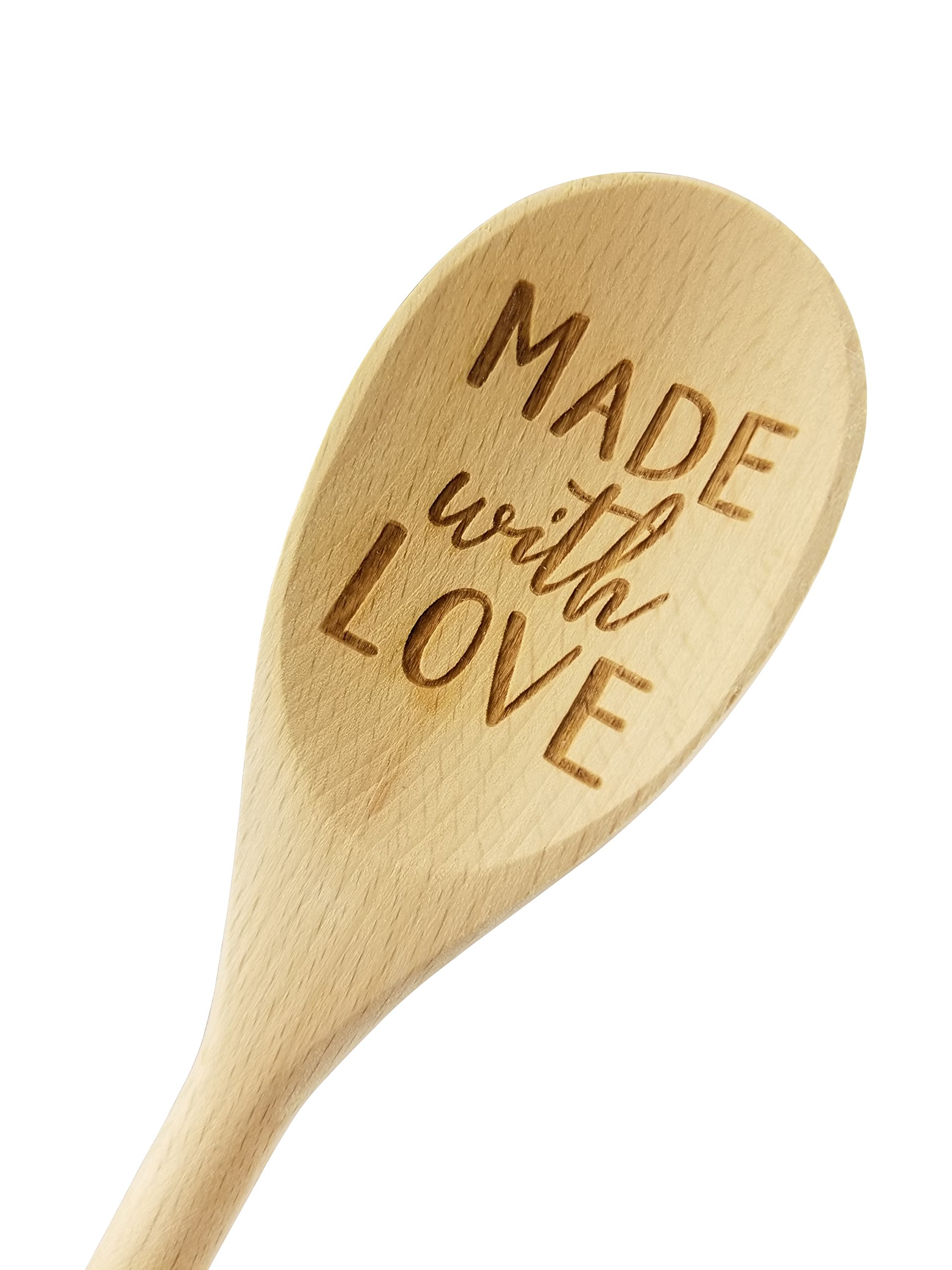 Engraved 14in Made With Love Wood Spoon Gift (1 Spoon)