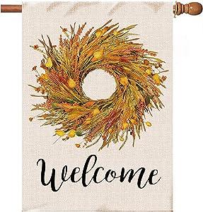 Hexagram Wheat Wreath Fall Flags 28x40 Double Sided,Burlap Autumn Fall Wheat with Lanterm Flower House Flag,Farmhouse Outdoor Decor,Large Garden Flag