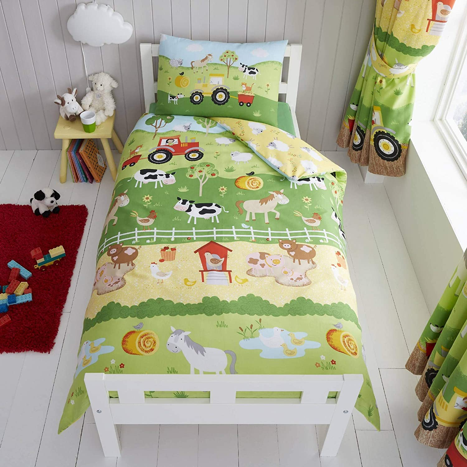 Happy Linen Company Childrens Boys Girls Farm Animals Counting Sheep Green Yellow Reversible UK Toddler Bedding Duvet Cover Set