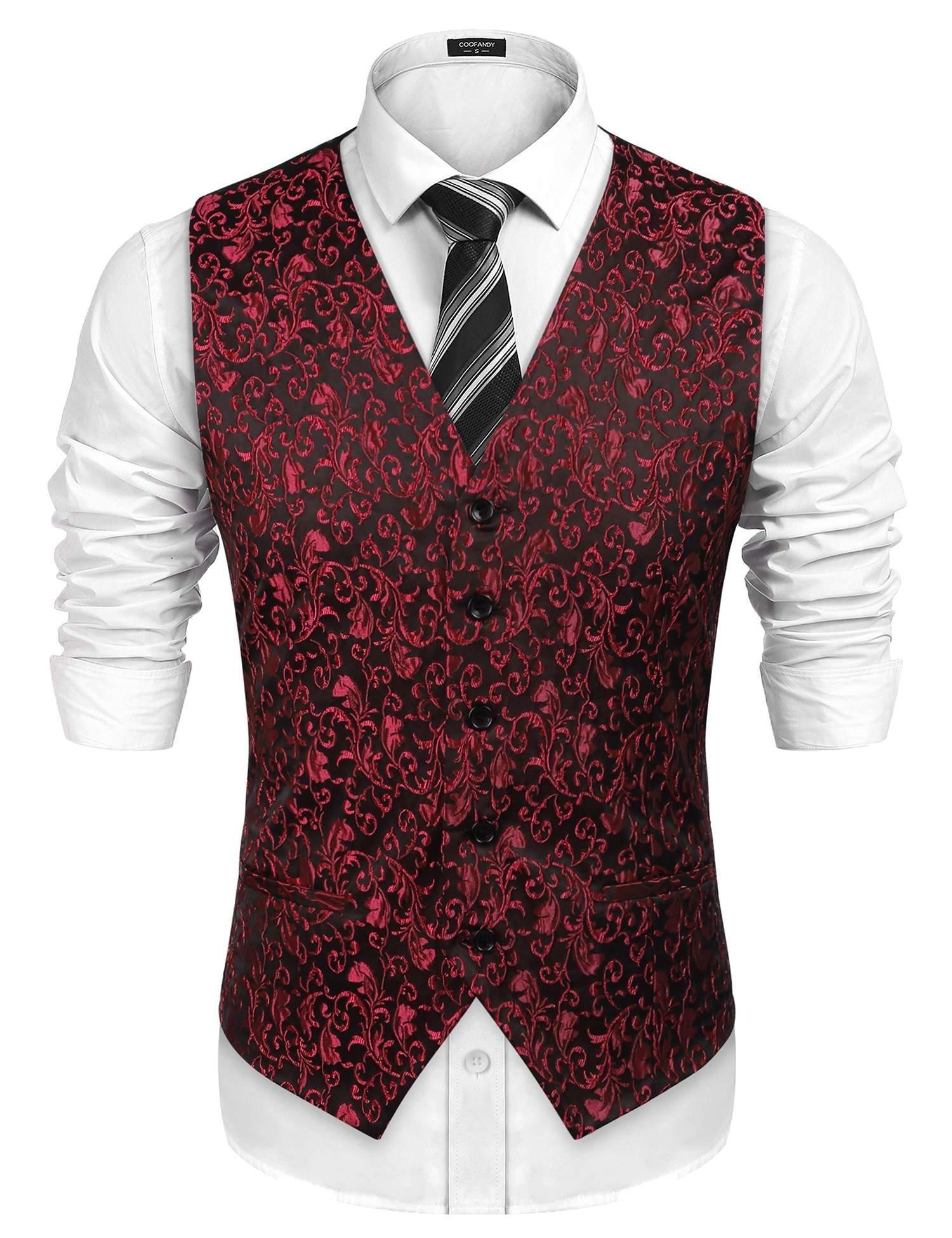 COOFANDY Men's Suit Dress Vest Paisley Floral Tuxedo Vest Slim fit Wedding Waistcoat