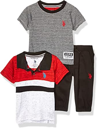 U.S. POLO ASSN. Baby-Boys Color Blocked Polo Shirt, T-Shirt, and Twill Jogger Set Pants Set