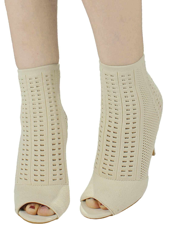 9c807f1422ba4 Women Royals Sleek Slip On Stretch-Knit Peep-Toe Stiletto Sock Ankle High  Heel Bootie