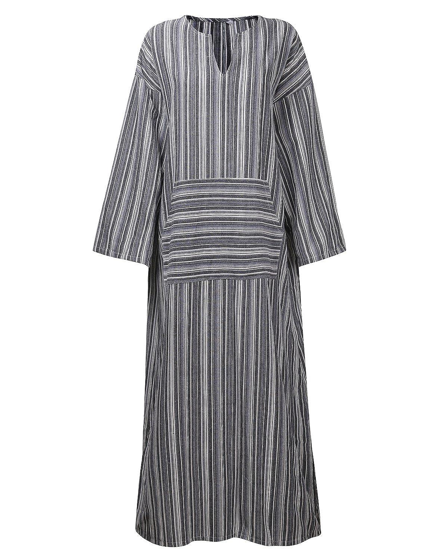 BBYES Women Vintage Loose Striped Long Sleeve Casual Kaftan Boho Maxi Cotton Linen Dresses