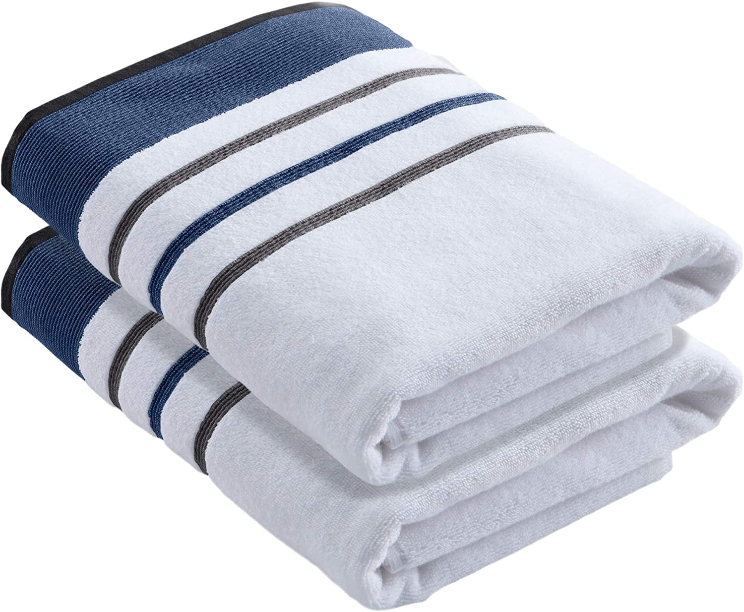 Turkish Cotton, Striped Bath Towel Set (30 x 54 inches) Oversized and Absorbent Luxury Quick-Dry Towels. Noelle Collection (Set of 2, Moroccan Blue / December Sky)