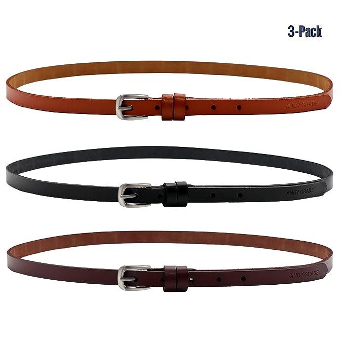 ANDY GRADE Set de 3 Mujer Cinturón Piel de vacuno Delgado Cinturones  Ajustable Cintura Para Jeans f64c522a4644