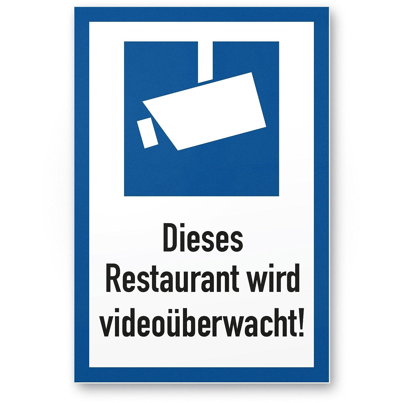Este restaurante se videoüberwacht DIN Símbolo Marco Azul (Formato Vertical pictograma)