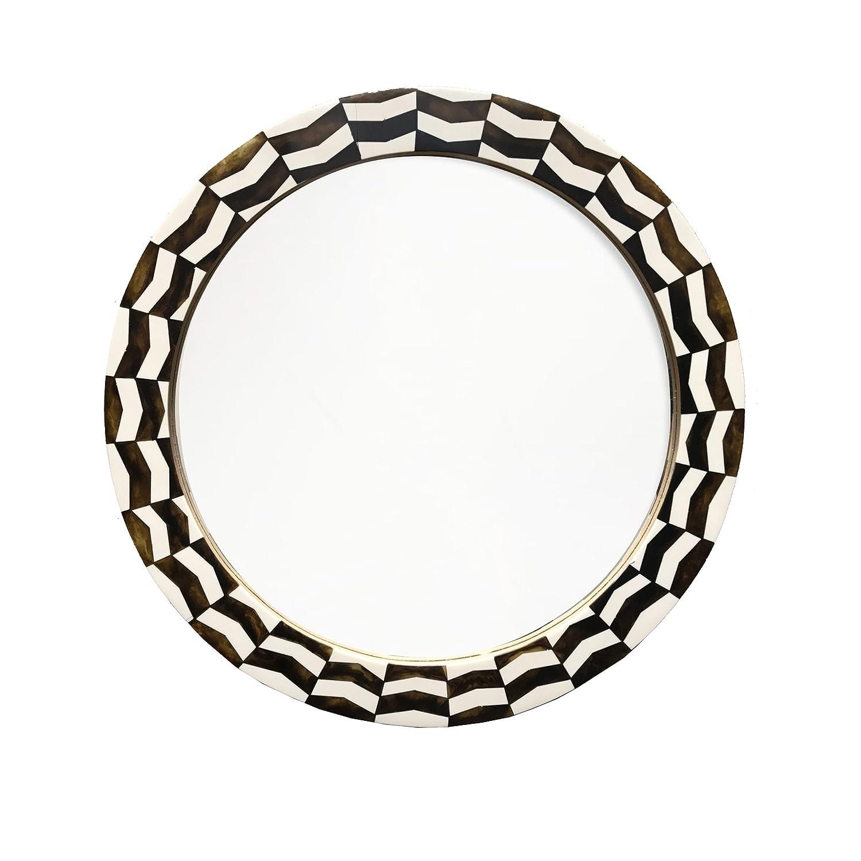 Chevron Ivory//Brown 19 Diameter Elsa L 43619 Round Decorative Wall Mirror
