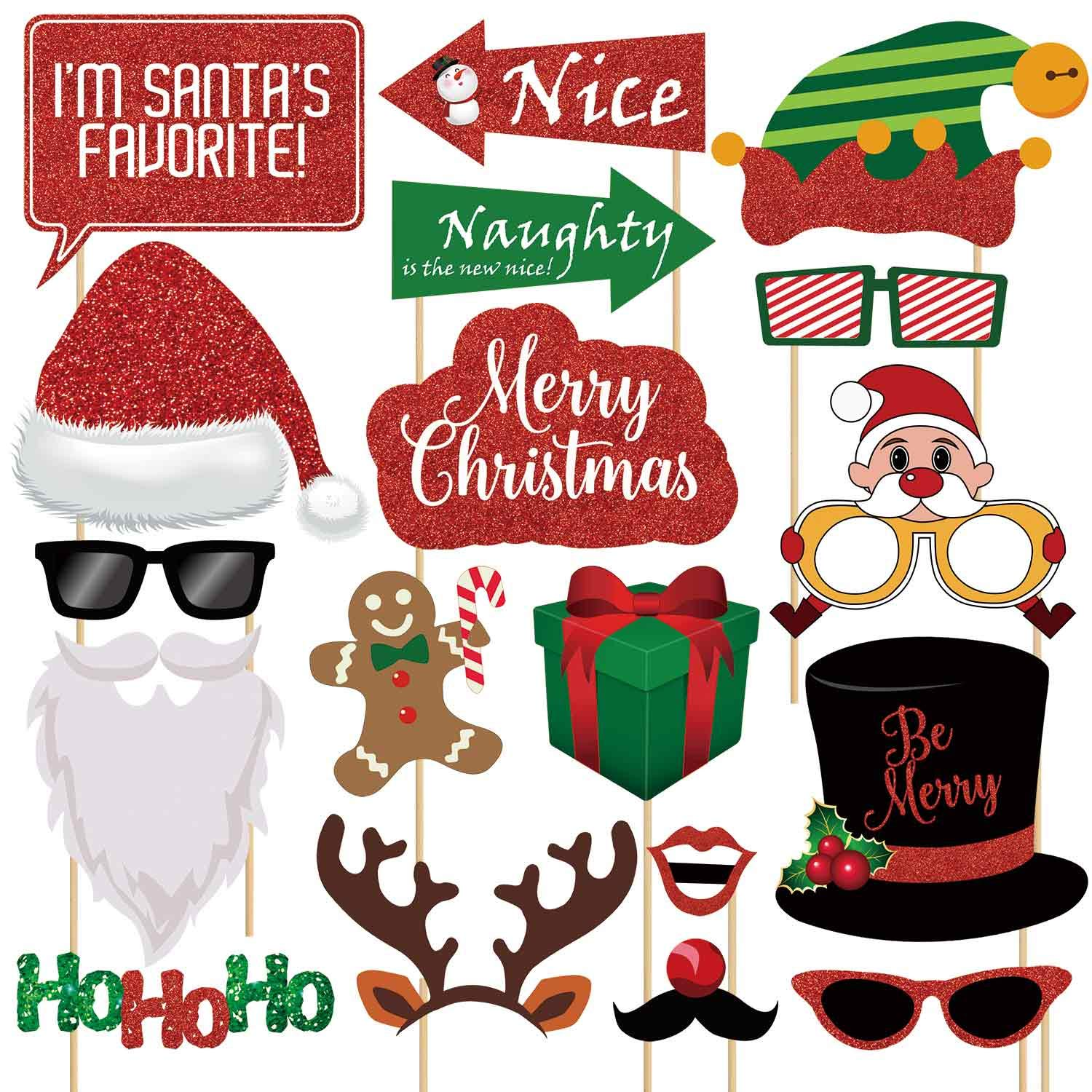 XMCOSOCS Glitter Christmas Photo Booth Props Kit - 25 Count Large Photography Party Decorations Gifts, Fun Santa Elfie Selfie Posing Signs DIY Craft Backdrop Accessories for Birthday New Year Holiday