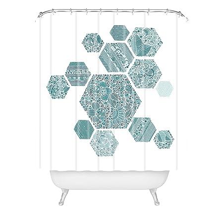 Deny Designs Valentina Ramos Shower Curtain Blue Honey 69 Inches X 90