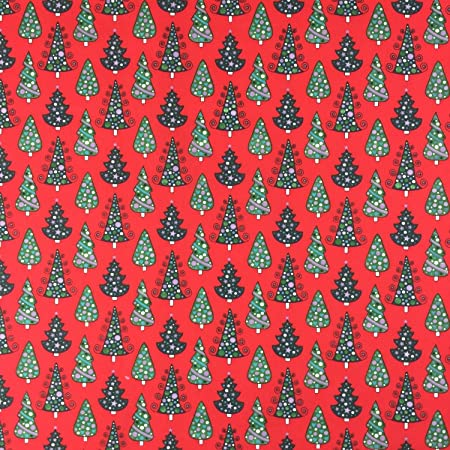 Image Unavailable. Image not available for. Colour  Red Xmas Trees  Christmas Polycotton Printed Xmas Dress Craft Fabric ... 59ea2dd1a