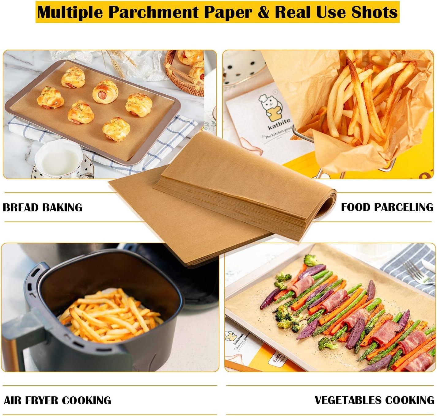 grillades cuisson frire Katbite Lot de 200 feuilles de papier parchemin non blanchi 45 g//m/² pour cuisson des biscuits