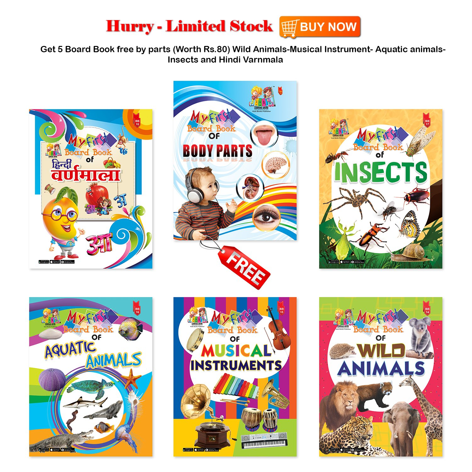 Buy A Free Board Book of BODY Parts(Worth Rs 80) on a Combo Set of
