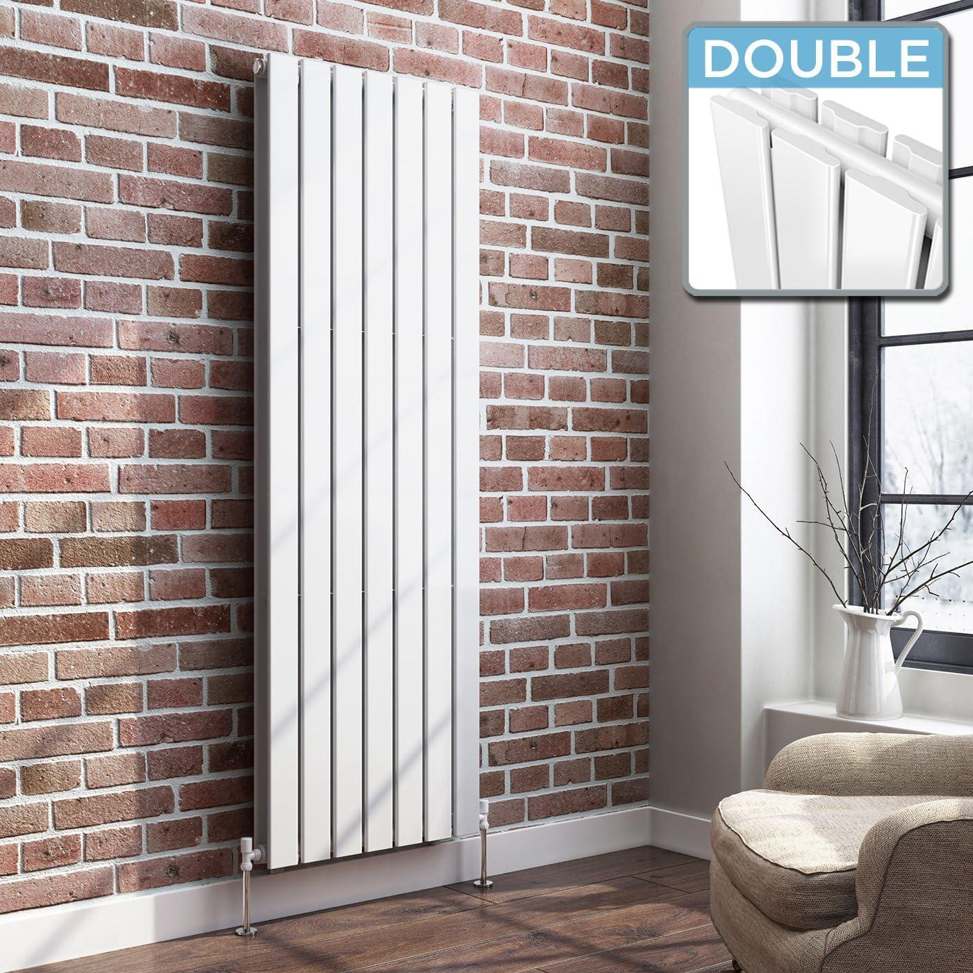 iBathUK | 1600 x 532 Vertical Column Designer Radiator White Gloss Double Flat Panel