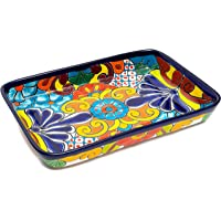 Enchanted Talavera Ceramic Baking Dish Casserole Dish Serving Platter Tray Floral Dish Oven Safe Microwave Safe (Large…