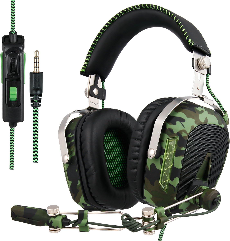 SADES actualizado Gaming Headset SA926T Auriculares PS4 estéreo Xbox One Auriculares Gaming con micrófono para PS4 / Xbox One/PC/Mac/Smart Phone/iPhone/iPad (Ejército Verde)