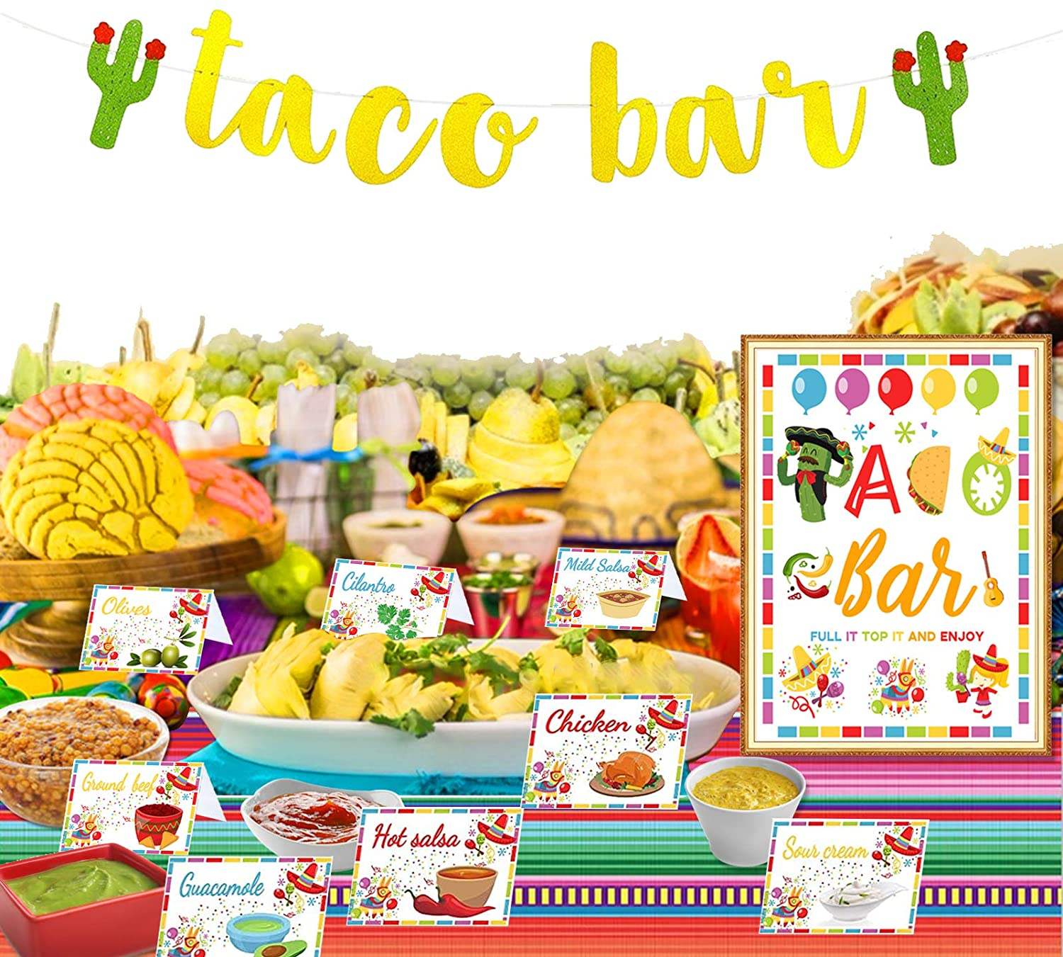 22 Pieces Taco Bar Decorations Set, 1 Set Cactus Banner Garland with 20Pcs Colorful Table Tent Cards and 1Pcs Big Card for Fiesta Mexican Birthday Cinco de Mayo Day of The Dead Party Decoration