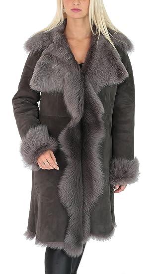 519bc1b23ff House Of Leather Ladies Sheepskin Coat 3 4 Length Long Toscana Shearling  Suede Finish Grey  Amazon.co.uk  Clothing