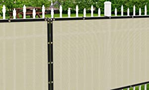 Patio Paradise 4' x 25' Tan Beige Fence Privacy Screen, Commercial Outdoor Backyard Shade Windscreen Mesh Fabric with Brass Gromment 88% Blockage- 3 Years Warranty (Customized