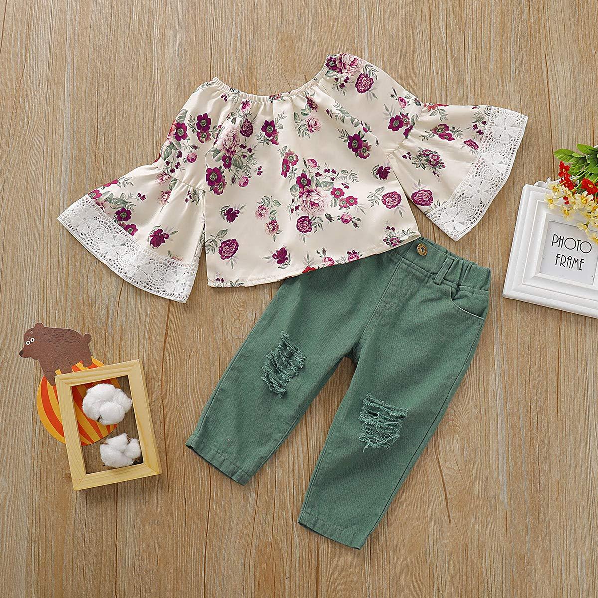 Ninas De Hasta 24 Meses Mengying Conjunto De Campanas De Encaje Para Ninas Y Ninas Con Camisa Floral Y Pantalones Ajustados Bebe Lekabobgrill Com