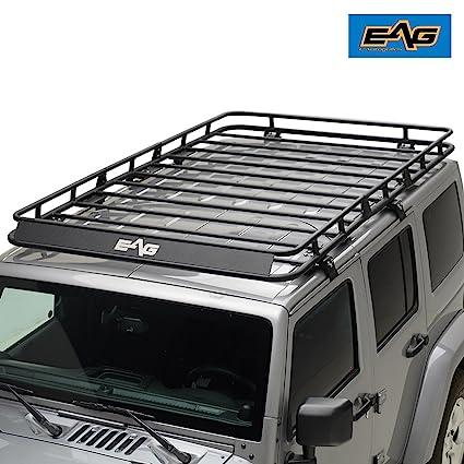 EAG 07 18 Jeep Wrangler JK 4 Door Full Length Roof Rack Cargo Basket (
