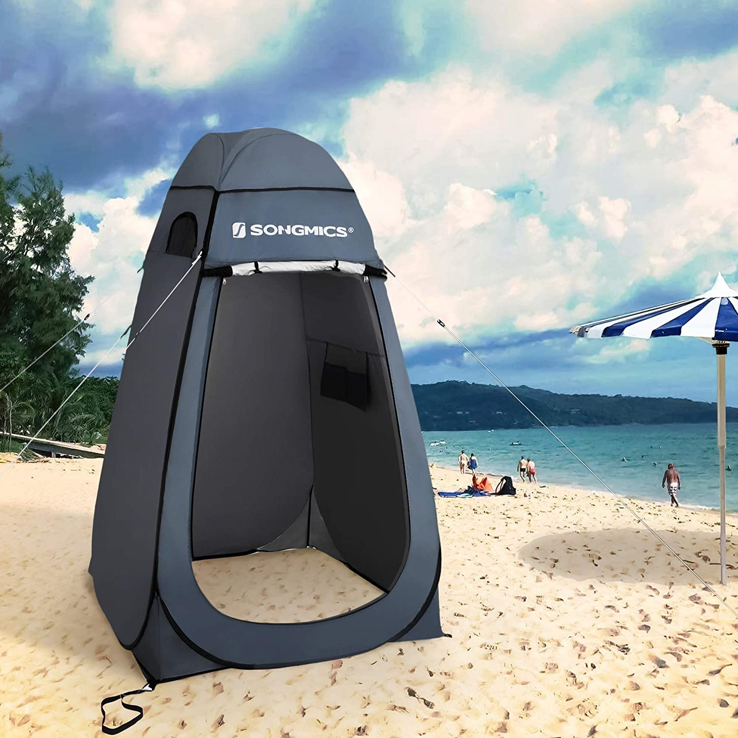 SONGMICS Portable Pop up Tent Blue GPT01BU with Zippered Carrying Bag Dressing Room Privacy Shelter for Outdoor Camping Fishing Beach Shower Toilet