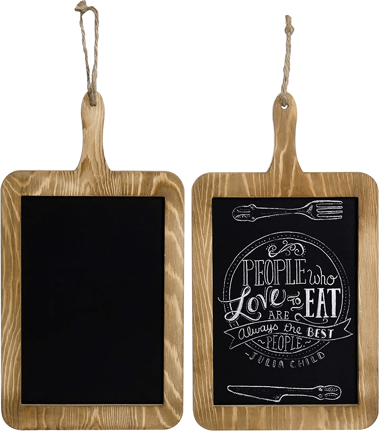 MyGift Rustic Wood Hanging Chalkboard Paddle Message Board, Set of 2