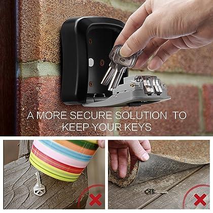 ORIA Key Storage Lock Box, Wall Mounted Key Lock Box with 4