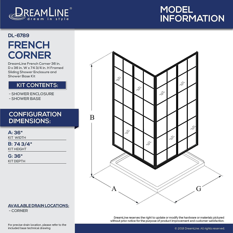 DreamLine French Corner 36 in. x 36 in. Framed Sliding Shower ...