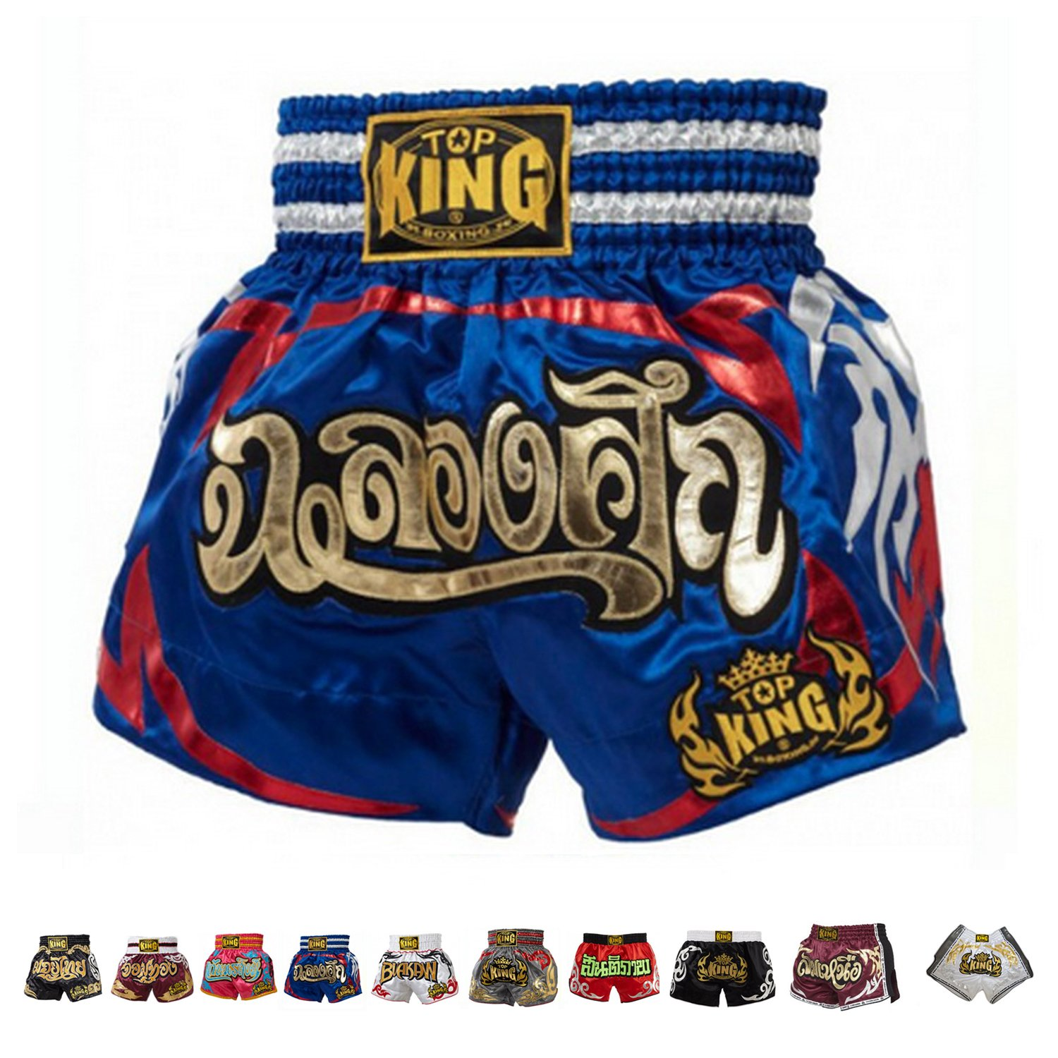 blueee Celebration 4L Top King Boxing Muay Thai Shorts Normal or Retro Style Size S, M, L, XL, 3L, 4L