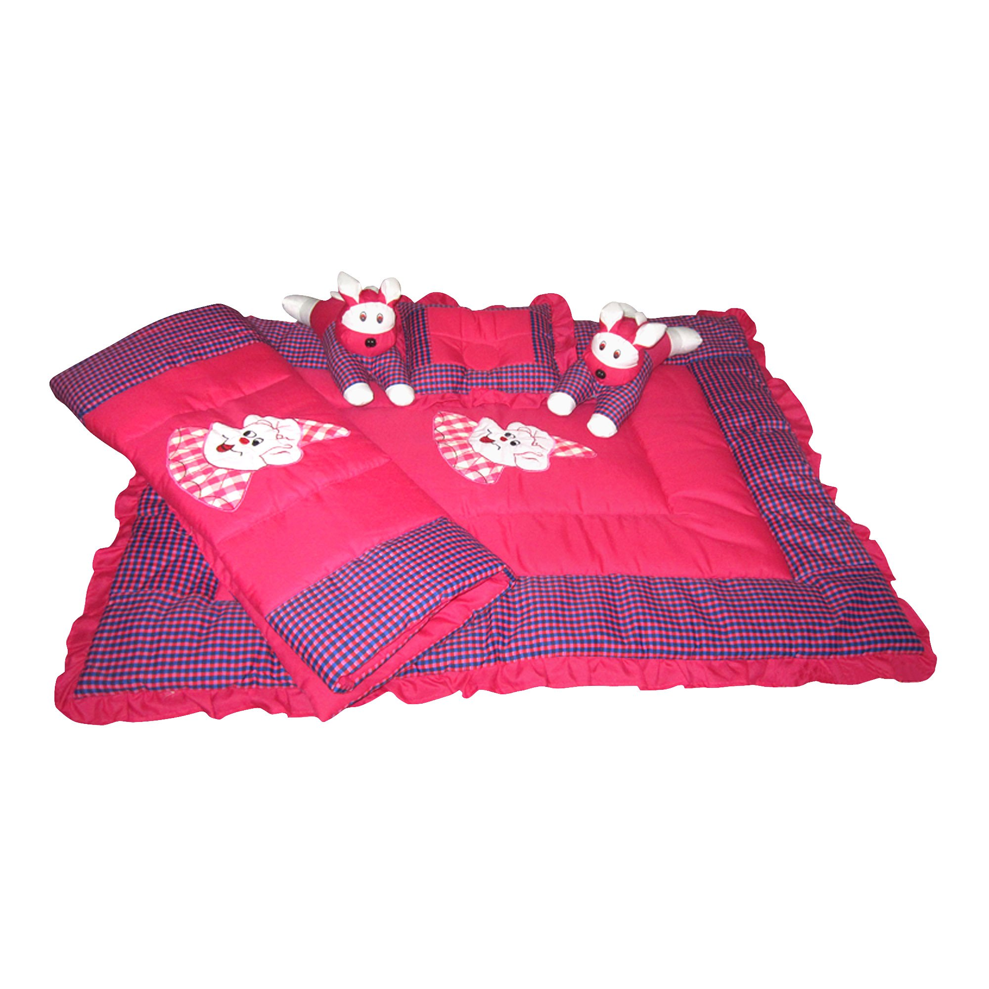 Maple Krafts Swiss Cotton Baby Bedding set upto 18 months Magenta with Pillow