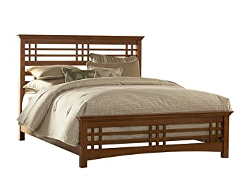 avery complete bed with wood frame and mission style design oak finish king