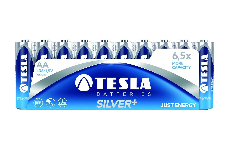 Tesla Batteries AA Silver Plus 2600 mAh Color Azul Pack de 10 Pilas
