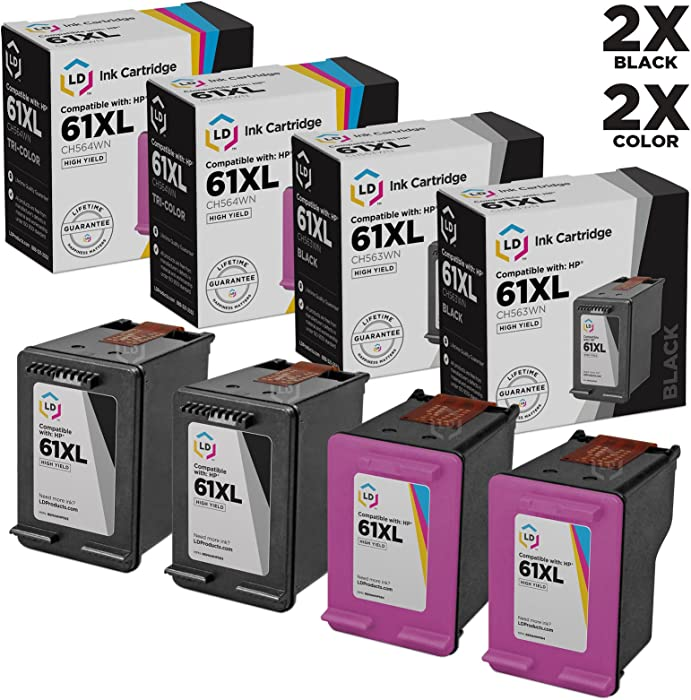 LD Remanufactured Ink Cartridge Replacements for HP 61XL High Yield (2 Black, 2 Color, 4-Pack)