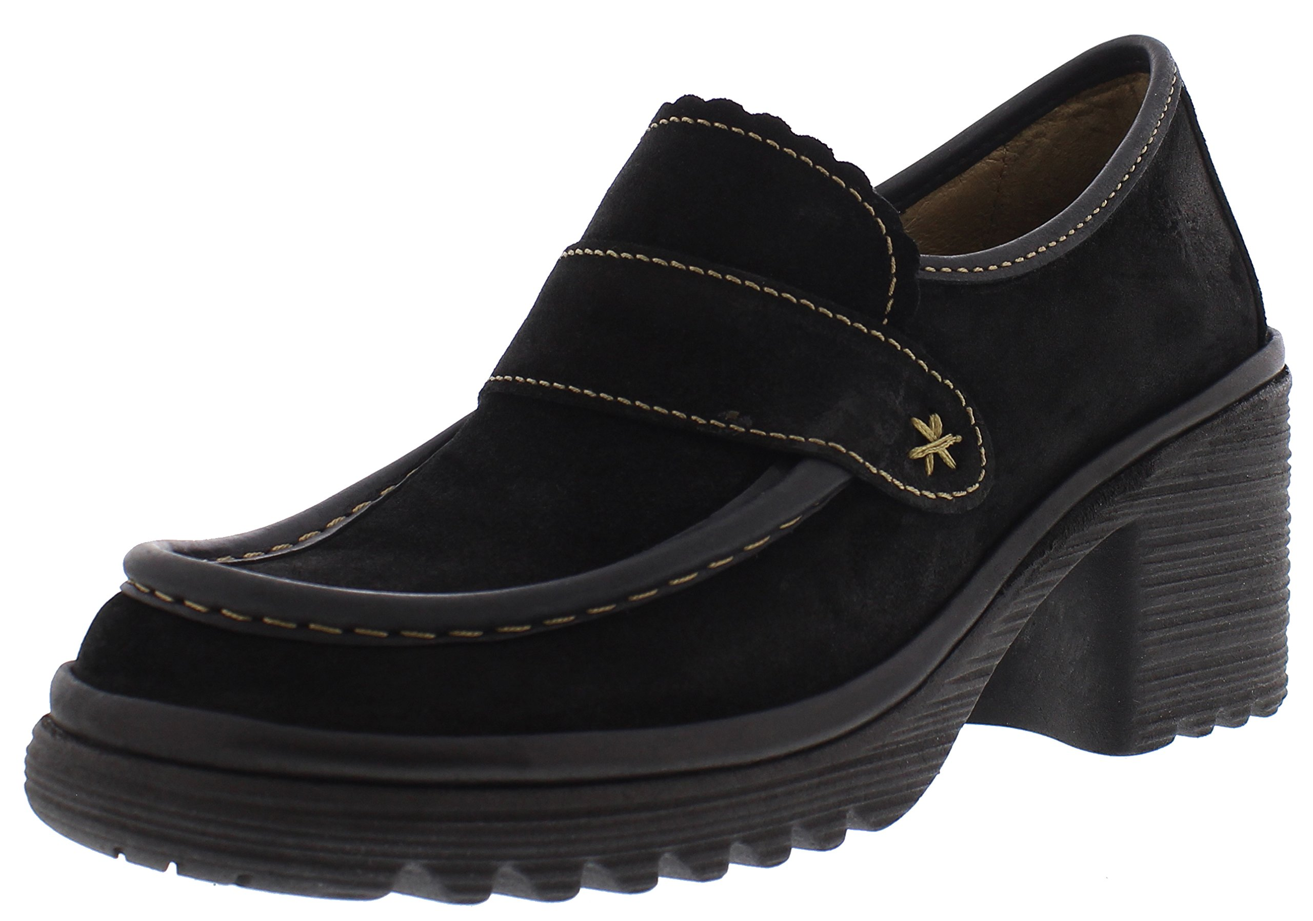 FLY London Women's WEND764FLY Penny Loafer, Black Oil Suede/Rug, 38 M EU (7.5-8 US)