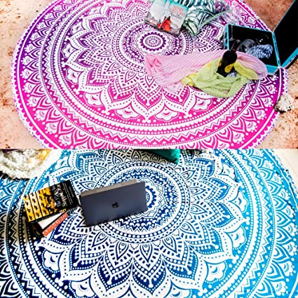 72 Inches Blue and Yellow, 2 Set of 2 Ombre Mandala Round Tapestry Hippie Indian Mandala Roundie Picnic Table Cover Hippy Spread Boho Gypsy Cotton Tablecloth Beach Towel Meditation Round Yoga Mat