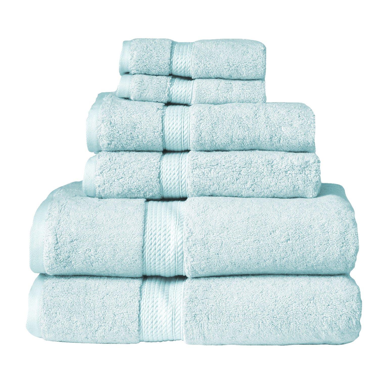 Blue Nile Mills 6-Piece Towel Set, Premium Long-Staple Cotton, 900 GSM, Sea Foam