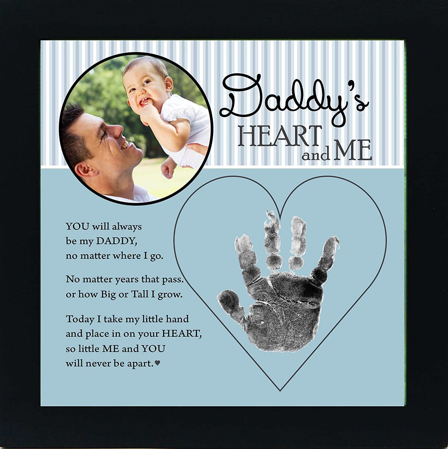 The Grandparent Gift Dad Handprint Frame: Daddy's Heart and Me, Blue, Black, The Grandparent Gift Co. 4380