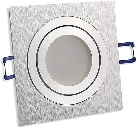 Einbaustrahler GU10 LED 5W 230V Spot Silber gebürstet Eckig SCHWENKBAR Einbau