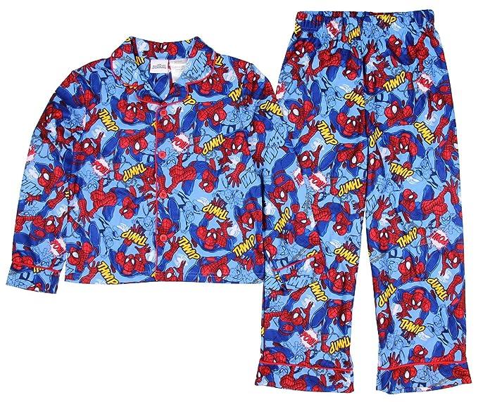 c2e85e16d166 Amazon.com  Spiderman Boys 2 Piece Button Down Flannel Pajama Set (8 ...