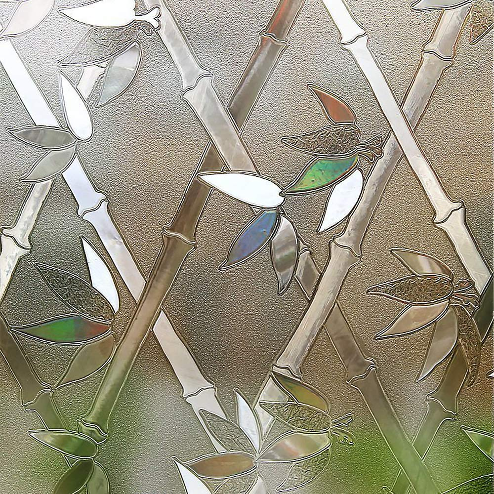 RABBITGOO Privacy Window Film Frosted Film Decorative Window Cling Anti-UV Glass Films Non-Adhesive Bamboo Films for Living Room Bedroom Kitchen Lobby Porch Office 35.4'' x 78.7'', White