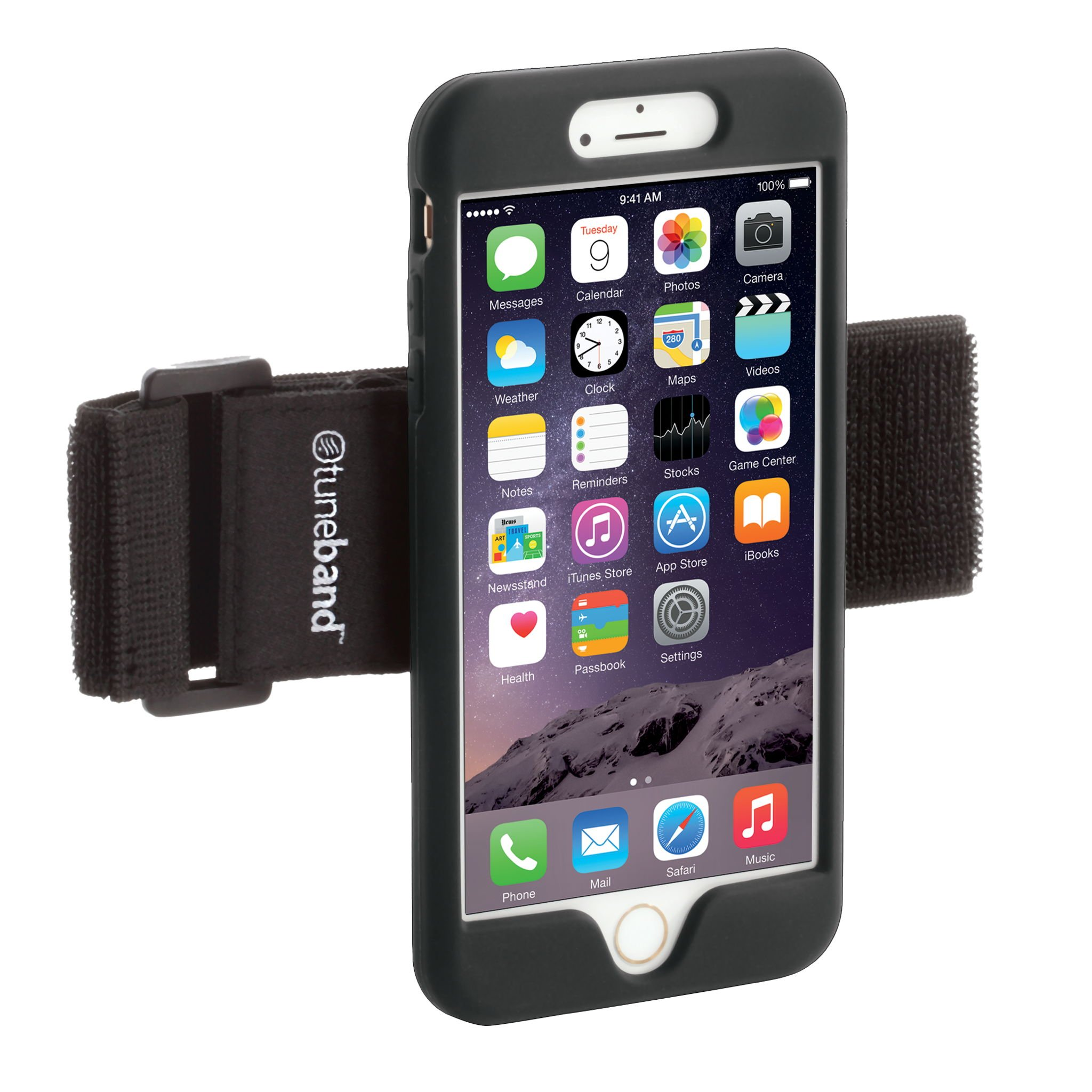 TuneBand for iPhone 7 Plus Premium Sports Armband with Two Straps and Two Screen Protectors Black