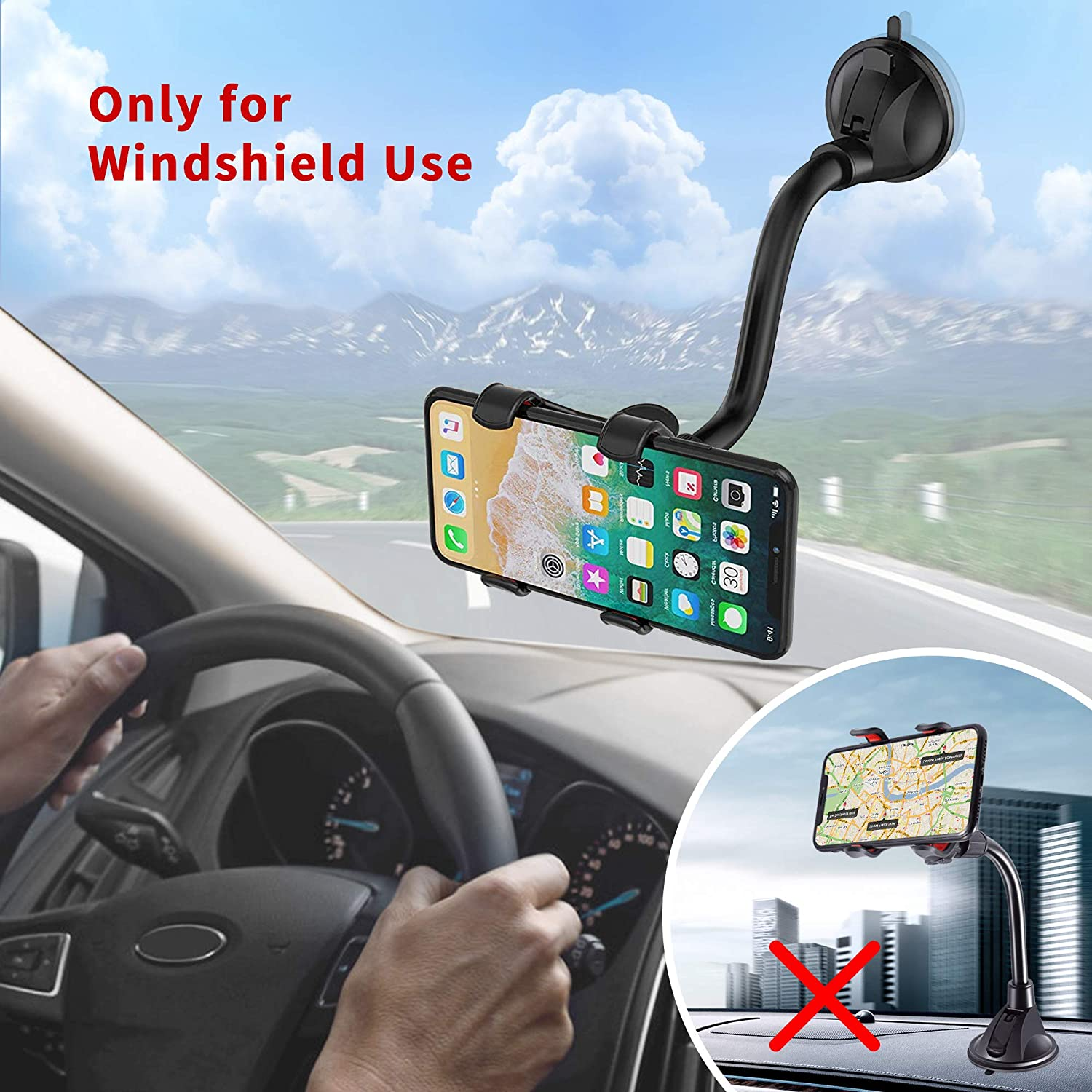 IPOW Upgraded No Glue Car Phone Mount Windshield with Strong Suction Long Arm Cell Phone Holder for Car with X-Shaped Clamp Fits Thick//Irregular Phone Case