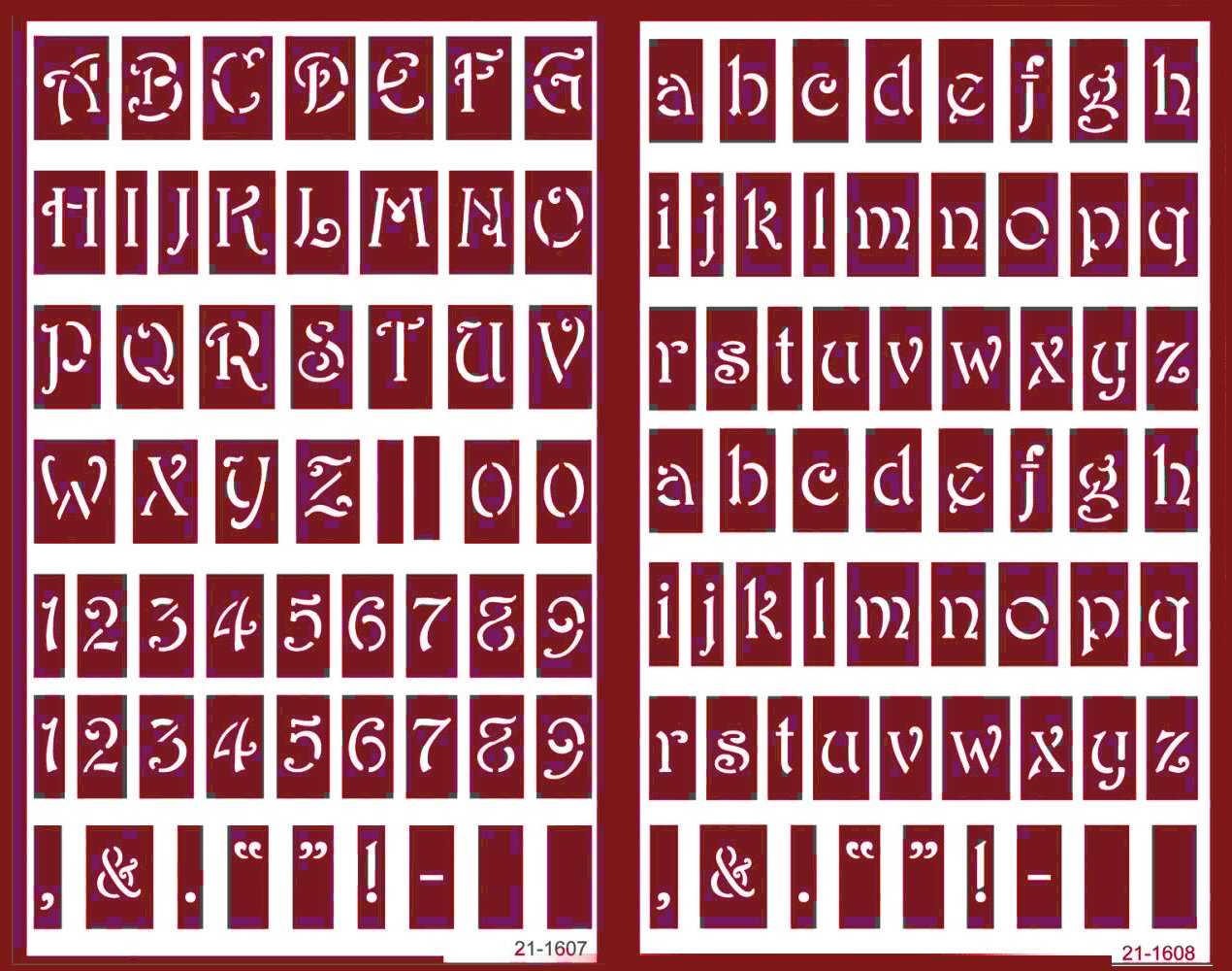 Over 'n' Over Reusable Self-Stick Etching Stencil for Glass (or Stamping) - Bundle of Two Sets - Lowercase Alphabet and Capital Letters with Numerals Armour Products