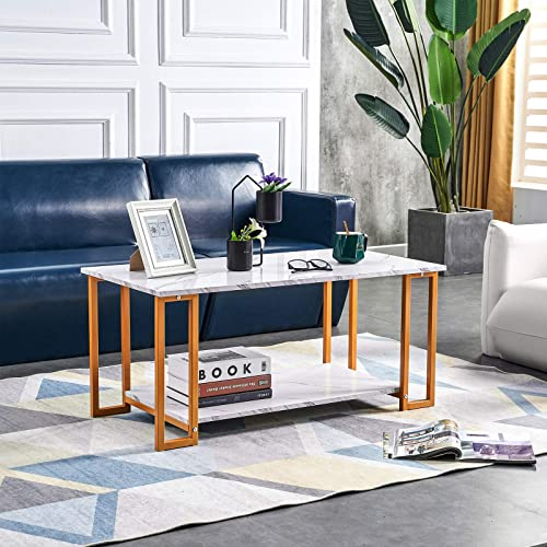 DEPOINTER Life Coffee Table Faux Marble Tabletop