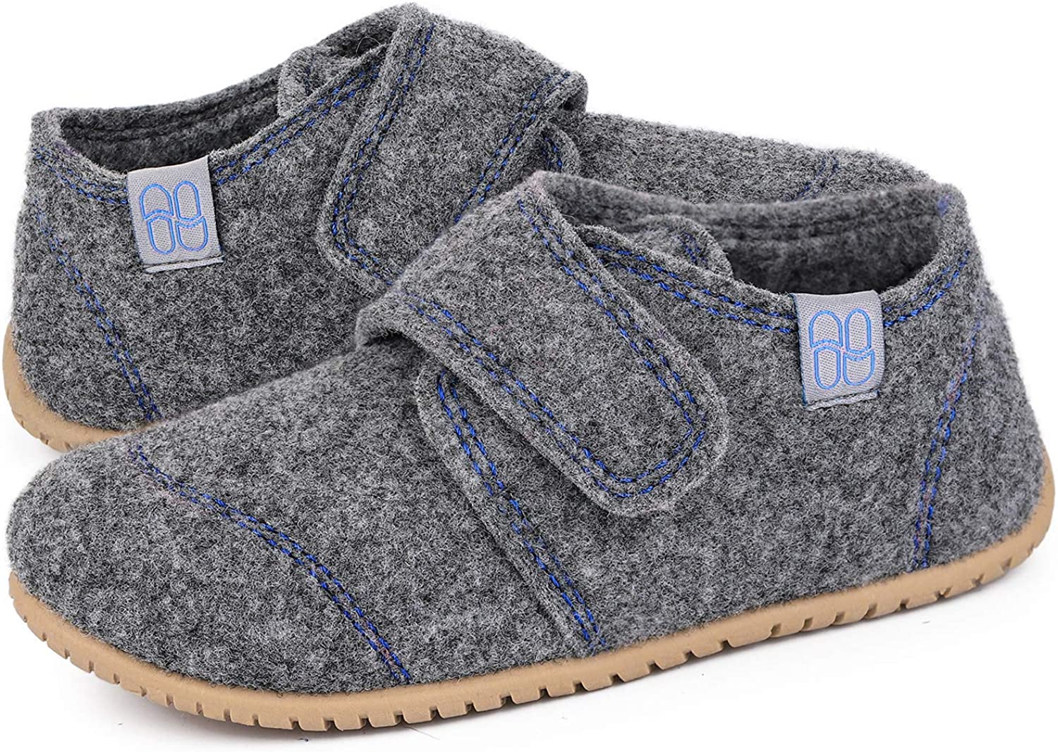 HomeTop Kids Soft Wool Felt House Shoes with Adjustable Hook and Loop