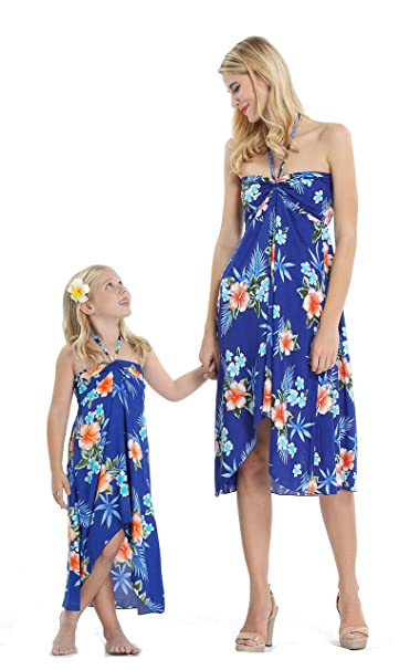7588716a9fa0 Matching Hawaiian Luau Mother Daughter Butterfly Dress in Hibiscus Blue S-10