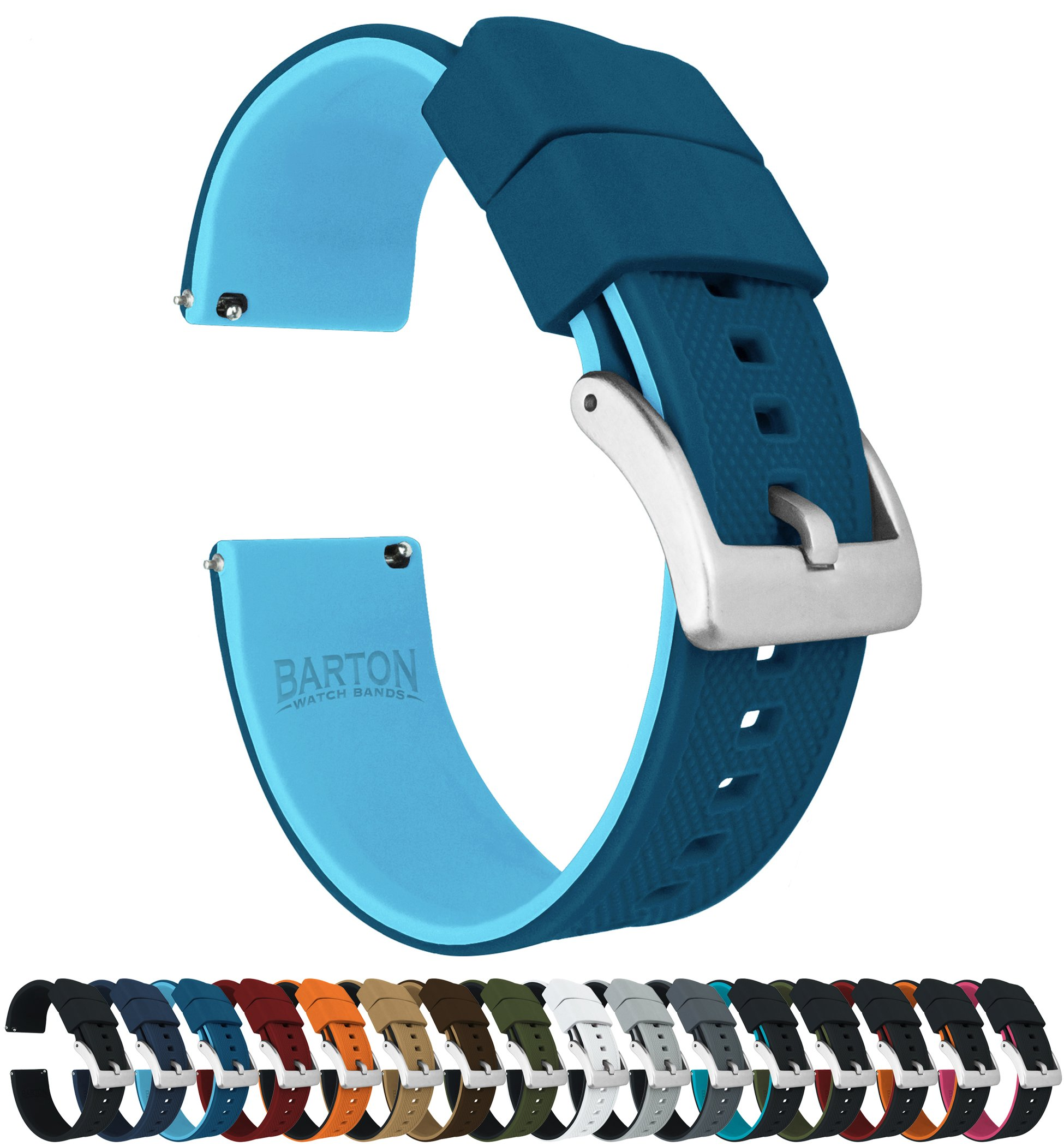 20mm Two Tone Blue (Flatwater) - Barton Elite Silicone Watch Bands - Quick Release - Choose Strap Color & Width by Barton Watch Bands