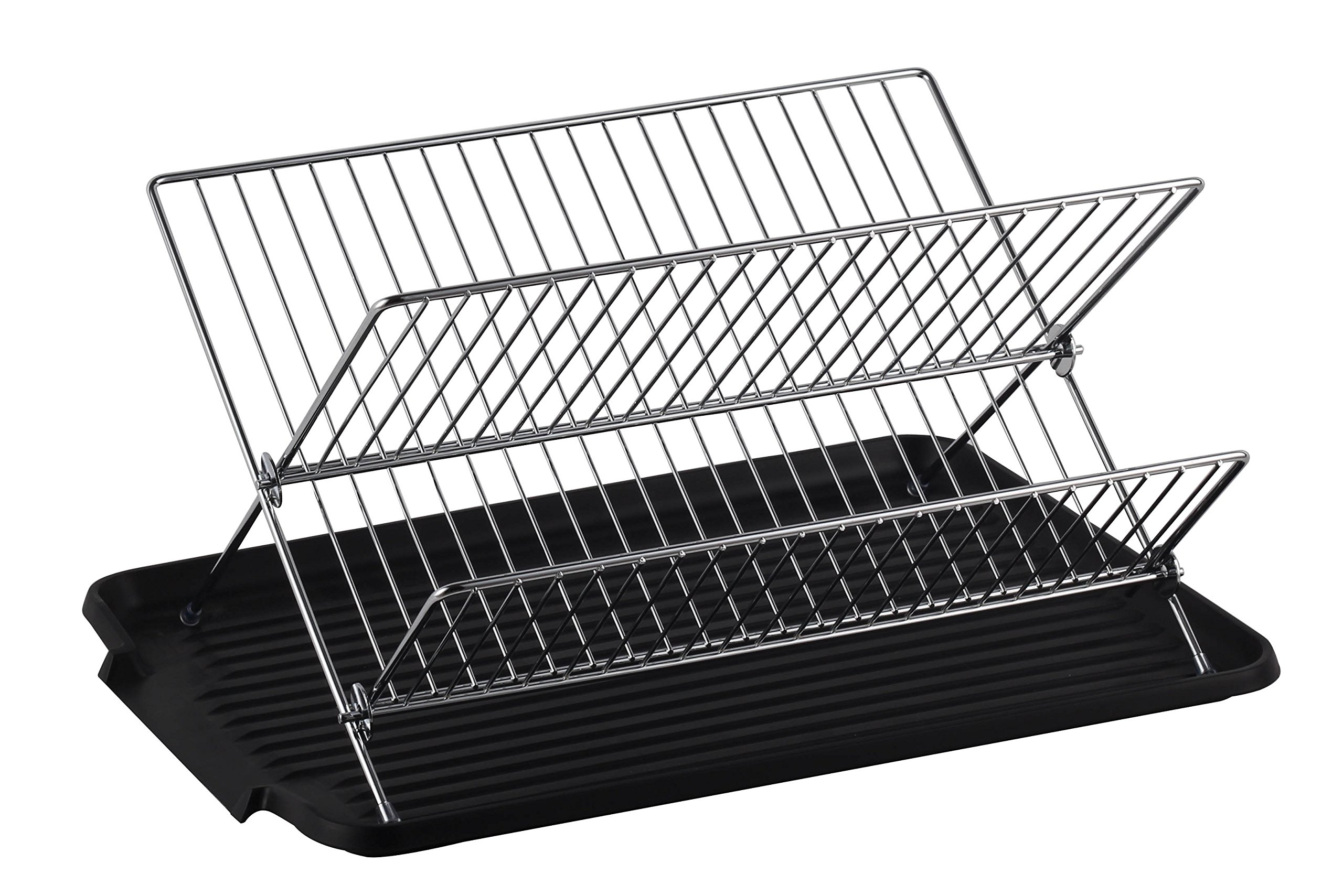 Deluxe Chrome-plated Steel Foldable X Shape 2-tier Shelf Small Dish Drainers with Drainboard (BlackII)